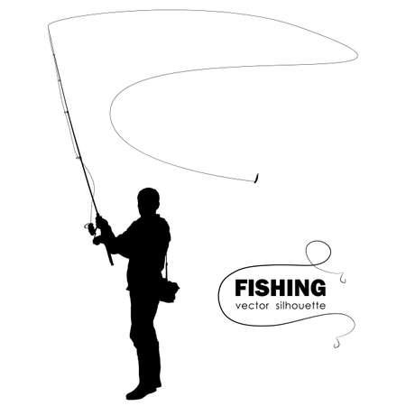 Geïsoleerde silhouet van visser. Stockfoto - 94384676