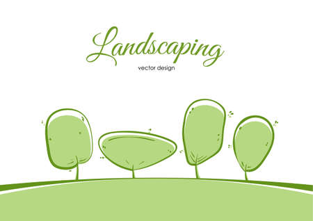 Vector illustration: Template layout for landscaping with cartoon tree on white background.