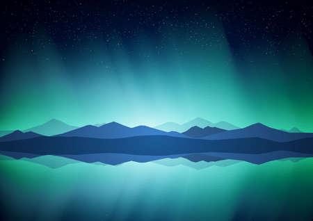 Paesaggio del Nord con Aurora, lago e montagne all'orizzonte. Vettoriali