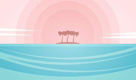 Vector illustration: Seascape with island and palm trees on the sunset background