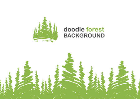 Vector illustration: Seamless background with doodle of pine forest. Stock Illustratie