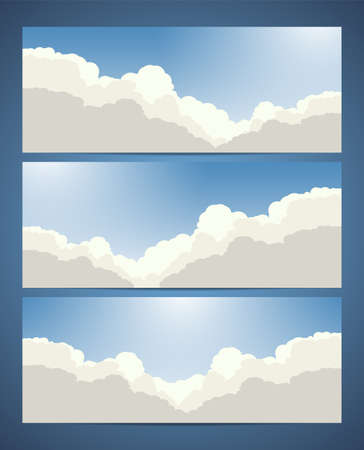 Set of sky banners with clouds and sunlight