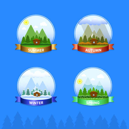 The house icon in the woods on a background of mountains. All seasons: summer, autumn, winter, spring. Ilustrace