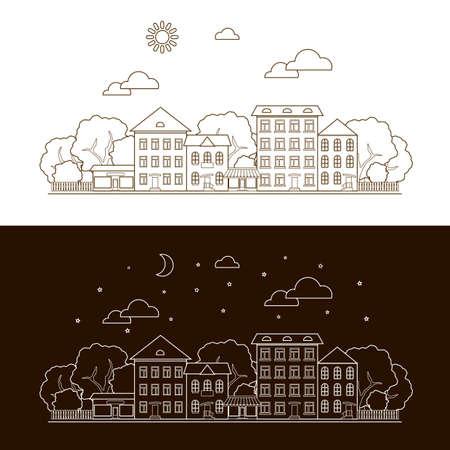 하루, 밤, 도시, 도시 및 하늘 아이콘. 일러스트