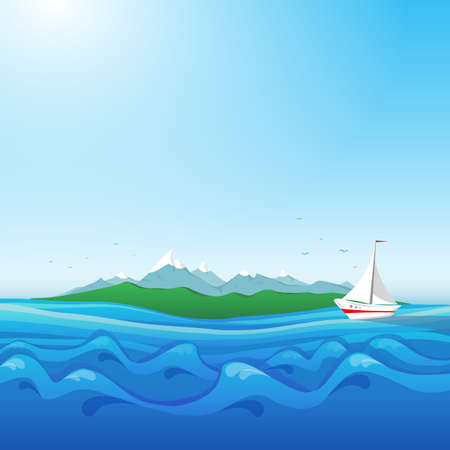 Seascape with island and yacht.