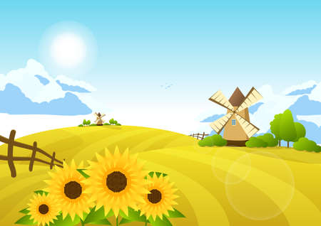 Illustration with fields and windmills. Rural landscape. Vectores