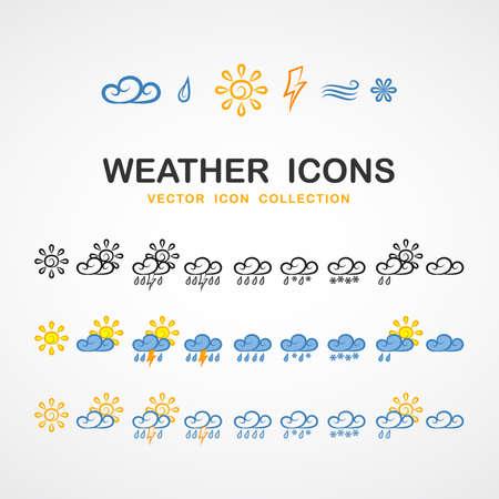 Different Weather icons  イラスト・ベクター素材