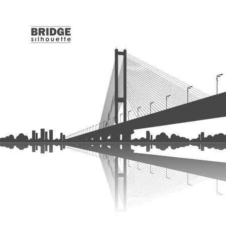 ベクトルイラスト:白い背景に南橋のシルエット