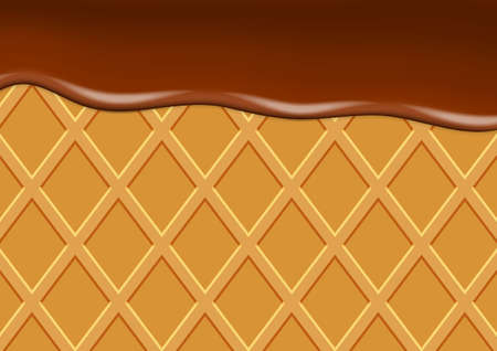 Vector background with waffle and chocolate ice cream
