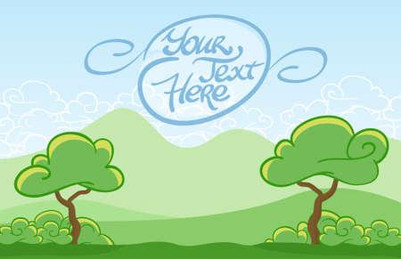 Vector illustration: Cartoon tree on the mountains background.