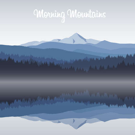 Vector illustration: Morning on the mountains lake.