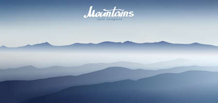 Vector illustration: Fog in the mountains. Silhouette.
