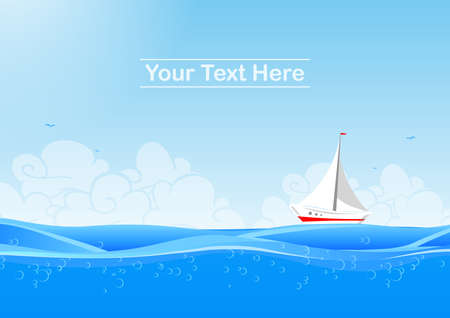 Marine background with yacht and clouds vector illustration.