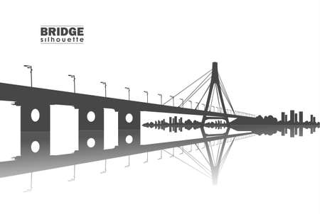 Vector illustration: Silhouette of Bridge with city