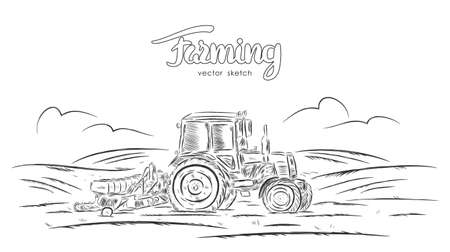 Vector illustration: Hand drawn sketch with tractor on field
