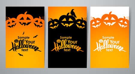 Vectorillustratie: verticale lay-out drie van affiche of vlieger met het met de hand geschreven van letters voorzien van Halloween Stock Illustratie