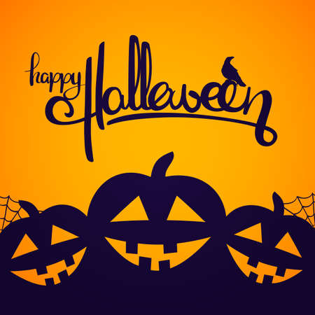 Vector illustration: Background with Handwritten lettering of Happy Halloween with raven and pumpkins