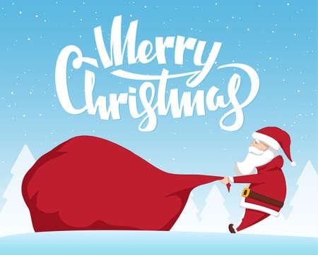 Vector illustration: Santa Claus pulls a heavy bag full of gifts on winter landscape background. Cartoon scene. Illustration