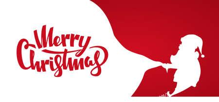 벡터 일러스트 레이 션 : 배너의 디자인 서식 파일 산타 클로스의 실루엣 무거운 가방 선물의 전체를 가져옵니다. 메리 크리스마스의 손 글자.