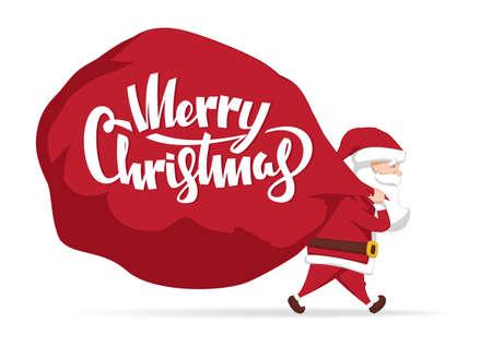 Vector illustration: Santa Claus carries a heavy bag full of gifts. Cartoon scene. Merry Christmas. Ilustração