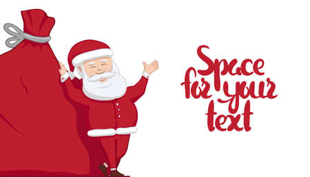 Vector illustration: Santa Claus is leaning on big sack with gifts and shows blank space. Winter Merry Christmas scene