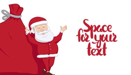Vektorillustration: Santa Claus lehnt sich auf großem Sack mit Geschenken und zeigt Leerstelle. Winter Frohe Weihnachten-Szene Vektorgrafik