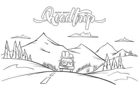 Vector illustration: Paysage de montagnes dessinées à la main avec voiture de manèges et voyage routier de lettrage manuscrit. Ligne de croquis. Banque d'images - 94439786