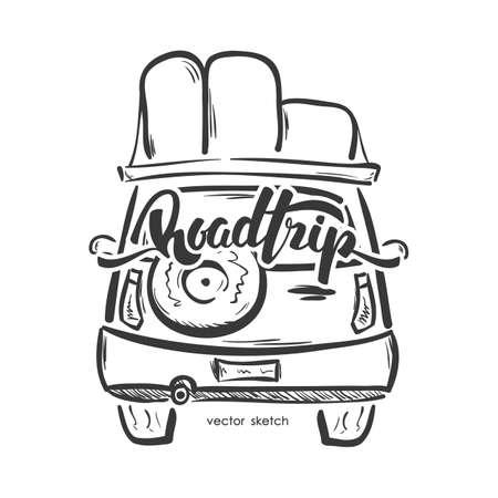 Illustration vectorielle: emblème dessiné avec voiture de voyage et inscription manuscrite de Road Trip. Ligne de croquis. Banque d'images - 94439785