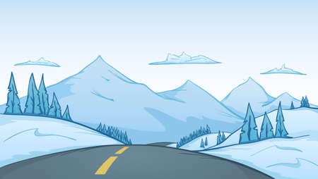 Vector illustration: Hand-drawn cartoon winter landscape with road on foreground and mountains on background.