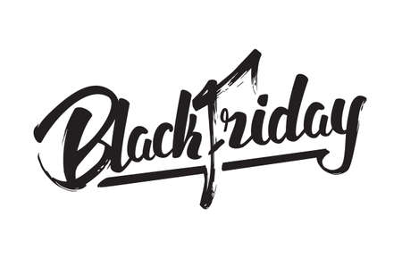 Vector illustration: Handwritten modern brush lettering of Black Friday isolated on white background 向量圖像