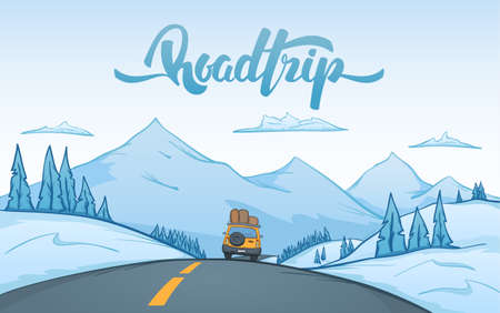 Vector illustration: Cartoon winter mountains landscape with travel car rides on the road on foreground and handwritten lettering of Road Trip. Ilustracja