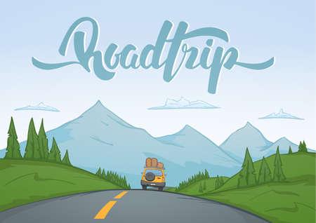 Vektorillustration: Karikaturgebirgslandschaft mit Reiseautofahrten auf der Straße auf Vordergrund und handgeschriebener Beschriftung der Autoreise. Vektorgrafik