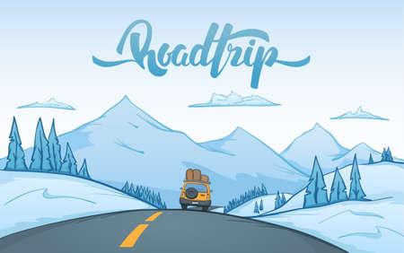 Cartoon winter mountains landscape with travel car Stock Illustratie