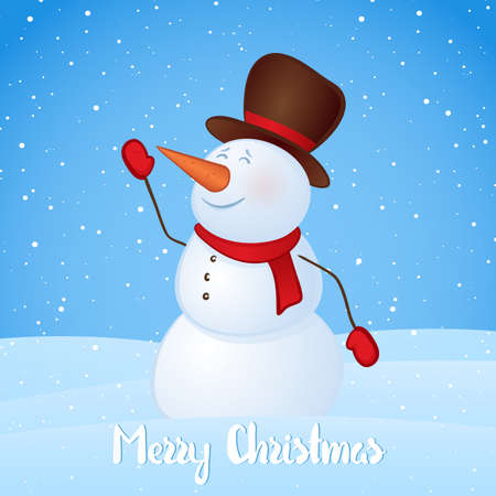 Vector illustration: Winter greeting card with snowman on snowy hills background. Merry Christmas