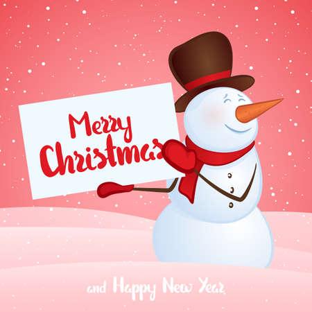 雪の流れの背景に手にバナーを持つ冬の笑顔雪だるま。メリークリスマスと新年おめでとう
