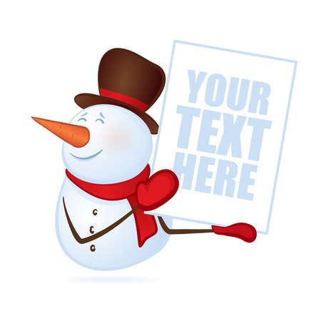 A Vector illustration: Winter smiling snowman with blank banner
