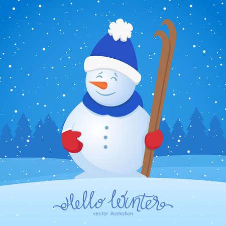 ベクトルイラスト:メリークリスマス。雪の森の背景にスキーと雪だるまとXmasグリーティングカード。