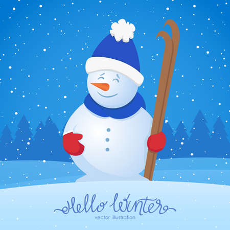A Vector illustration: Merry Christmas. Xmas greeting card with snowman with ski on snowy forest background. Illustration