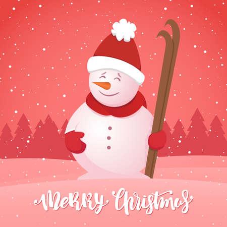 ベクトルイラスト:メリークリスマス。雪の森の背景にスキーと雪だるまと冬のグリーティングカード
