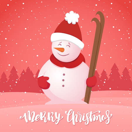 A Vector illustration: Merry Christmas. Winter greeting card with snowman with ski on snowy forest background