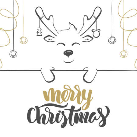 A Vector illustration: Merry Christmas lettering. Cartoon hand drawn deer with Christmas balls and blank banner