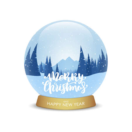 Merry Christmas and Happy New Year. Snow globe with winter mountains landscape isolated on white background. Illustration