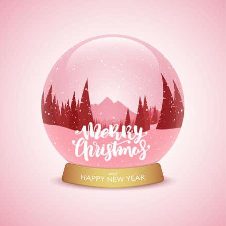 メリークリスマスと新年おめでとう冬の山々の風景を持つ雪の球体。