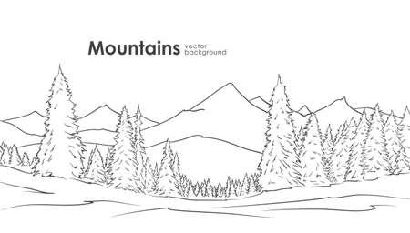 手描きの山のスケッチ  イラスト・ベクター素材