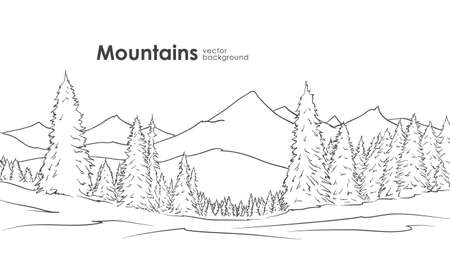 Hand drawn Mountains sketch Illustration