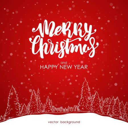 Merry Christmas and Happy New Year. Hand drawn sketch of pine forest with Modern brush lettering on red snowflake background.
