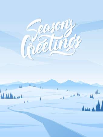 Vertical Snowy Mountains landscape Illustration