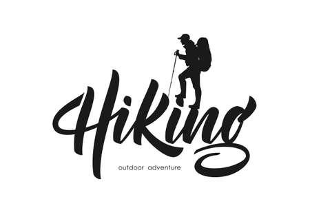 ●ベクトルイラスト:登山者のシルエットを持つハイキングのモダンなブラシレタリング