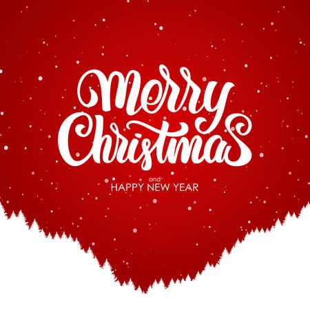 メリークリスマスと新年おめでとう赤い背景に森の丘の中腹のシルエットと手書きの文字。  イラスト・ベクター素材