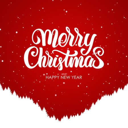 Merry Christmas and Happy New Year. Handwritten lettering with silhouette of forest hillside on red background.